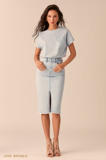 Джинсовая юбка цвета ультрасветлый индиго с разрезом 0254402203