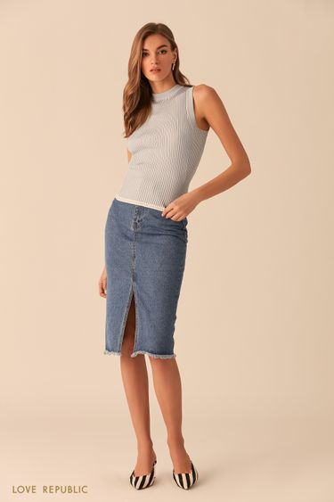 Джинсовая юбка цвета индиго с разрезом 0254402203