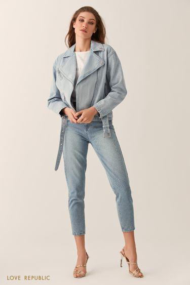 Джинсовая куртка-косуха голубого цвета 0254404106