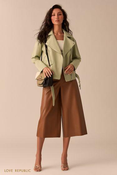 Джинсовая куртка-косуха фисташкового цвета 0254404106