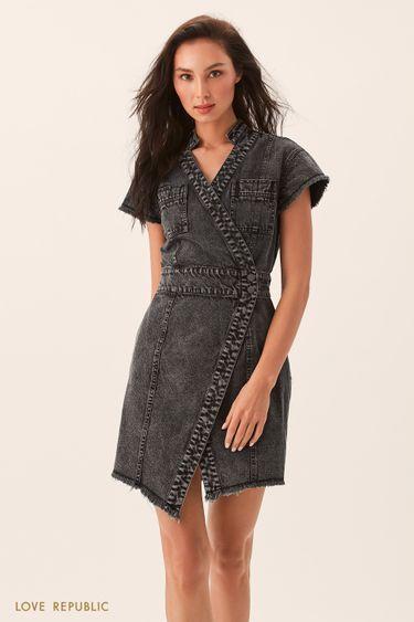Асимметричное платье из денима серого цвета 0254414516