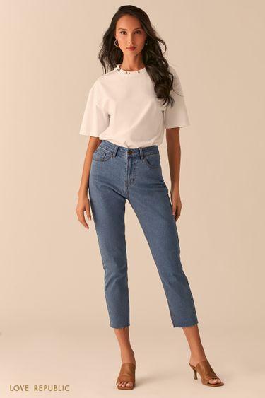 Укороченные джинсы прямого кроя 0254415747
