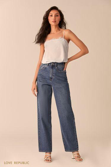 Широкие прямые джинсы цвета индиго 0254416748