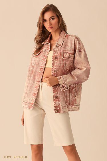 Базовая джинсовая куртка oversize персикового цвета 0254421108