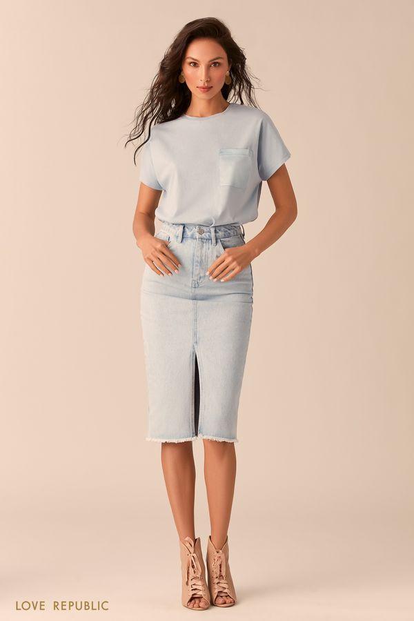 Джинсовая юбка цвета индиго с разрезом 0254402203-103