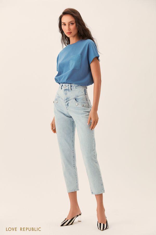Светло-синие короткие джинсы на кокетке 0254402715-100