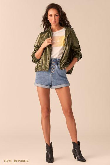 Оливковая куртка-ветровка с капюшоном 02545120112