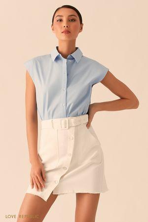 Голубая рубашка с коротким рукавом фото
