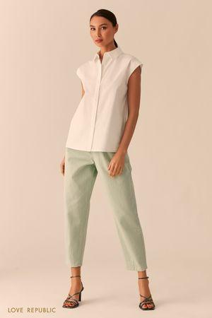 Белая рубашка с коротким рукавом фото