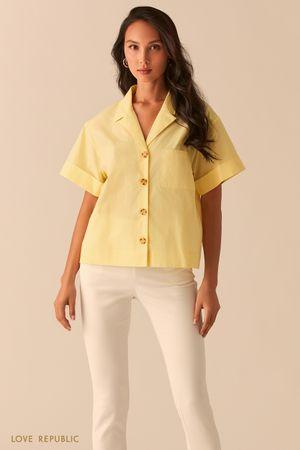 Желтая oversize рубашка с отложным воротником фото