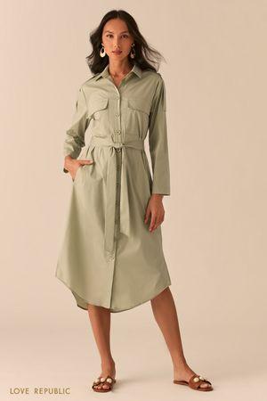 Платье-рубашка в стиле милитари зеленого цвета Love Republic