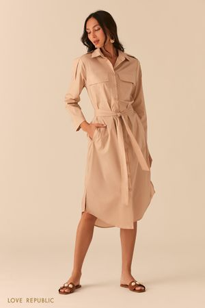 Платье-рубашка в стиле милитари кремового цвета Love Republic