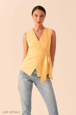 Желтая блузка на запах фото
