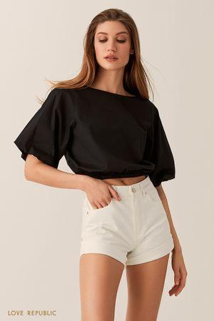 Укороченная блузка с объемными рукавами черного цвета фото