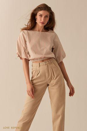 Укороченная блузка с объемными рукавами с принтом из полос фото