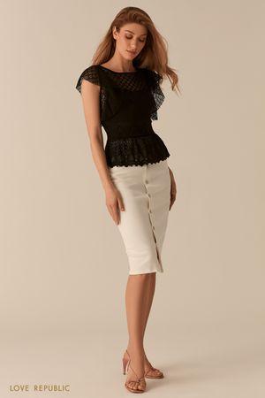 Черная кружевная блузка с баской фото