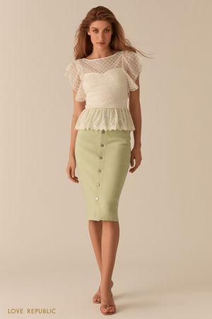 Молочная кружевная блузка с баской фото