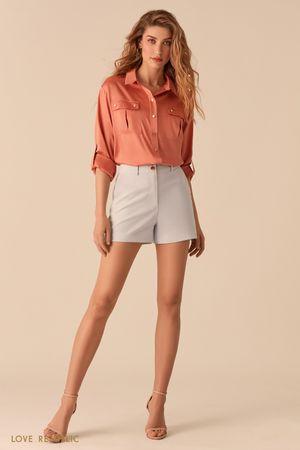 Атласная блузка в стиле милитари цвета терракот фото