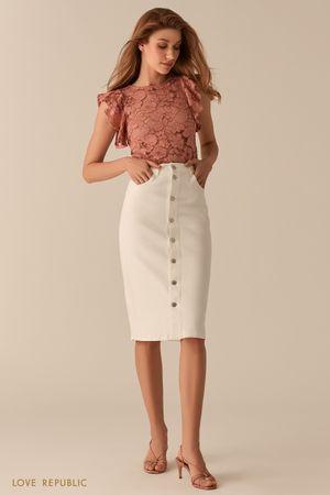 Кружевная полупрозрачная блузка с рукавами-воланами терракотового цвета фото