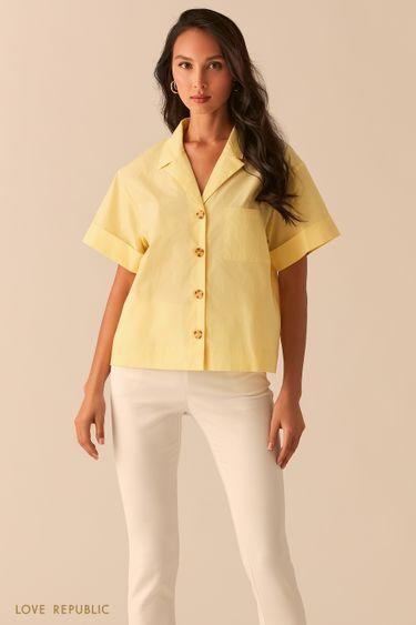 Желтая oversize рубашка с отложным воротником 02550020302