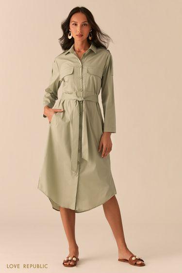 Платье-рубашка в стиле милитари зеленого цвета 0255008570