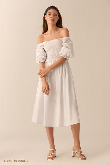 Платье миди с открытыми плечами 0255029508