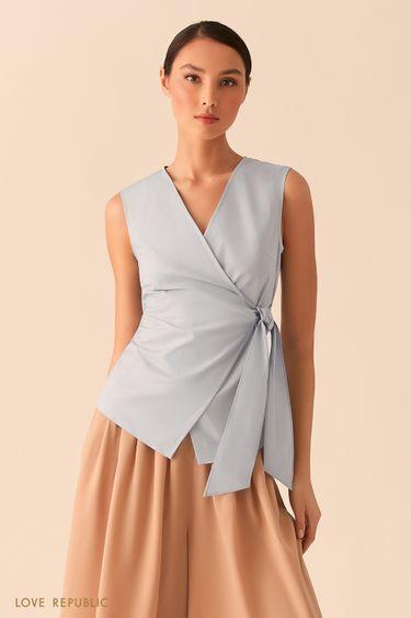 Голубая блузка на запах 02550570326