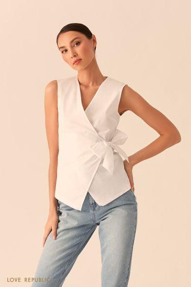 Белая блузка на запах 0255057326