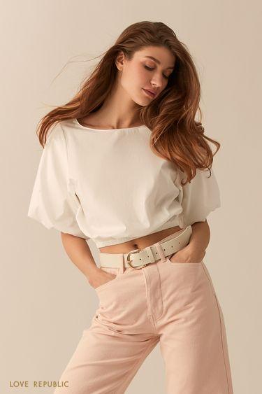 Укороченная блузка с объемными рукавами белого цвета 0255070303