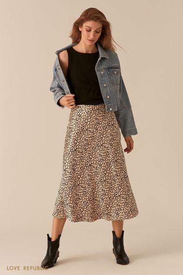 Атласная юбка в бельевом стиле 0255071219