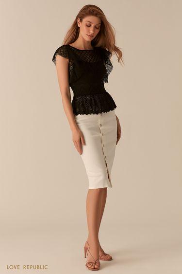 Черная кружевная блузка с баской 02550880399