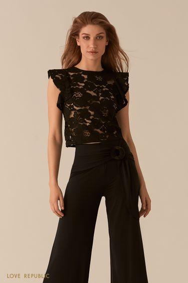 Кружевная полупрозрачная блузка с рукавами-воланами 02550900343