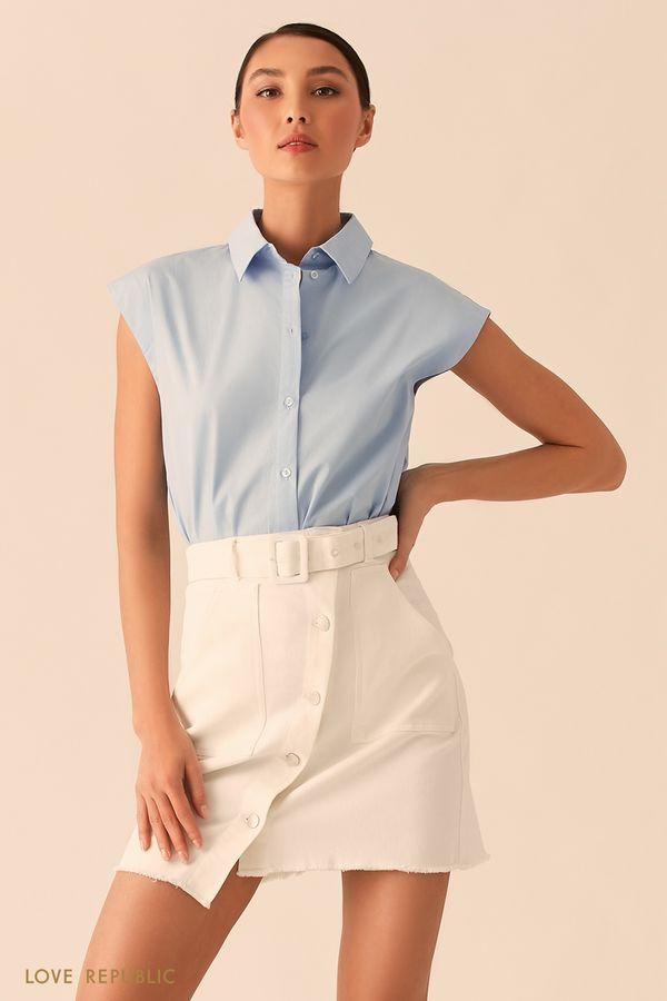 Голубая рубашка с коротким рукавом 02550010301-41