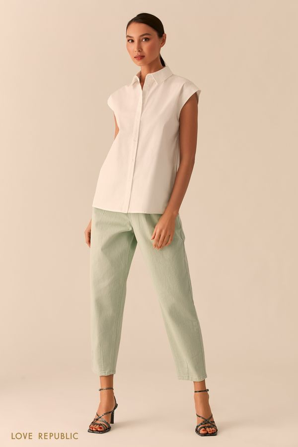 Белая рубашка с коротким рукавом 0255001301-1