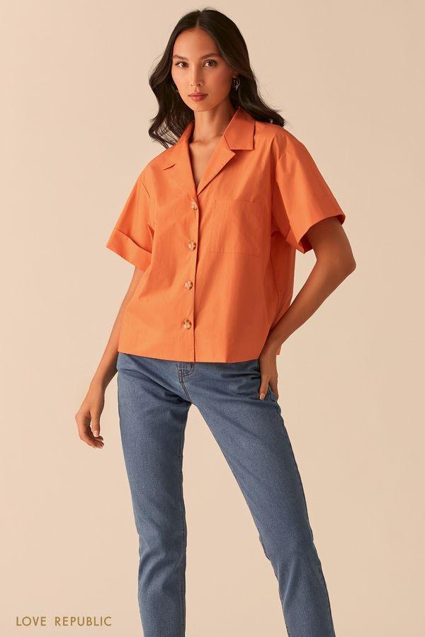 Желтая oversize рубашка с отложным воротником 02550020302-11