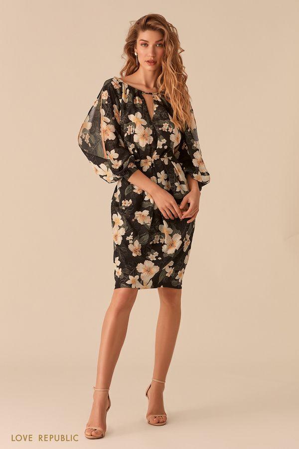 Платье с цветочным принтом и рукавами с разрезами 0255050527-55