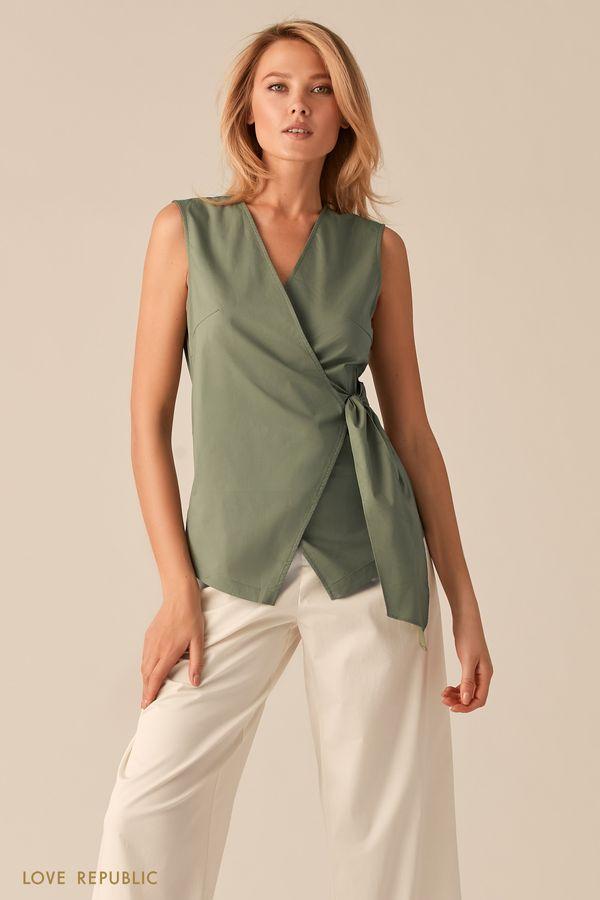 Блузка на запах цвета хаки 02550570326-13
