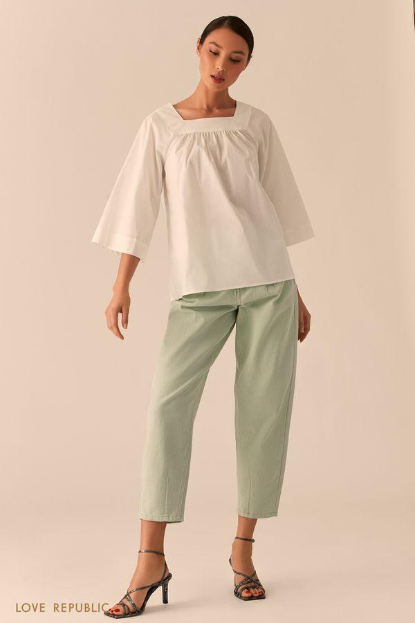 Белая блузка свободного кроя 0255067346-1