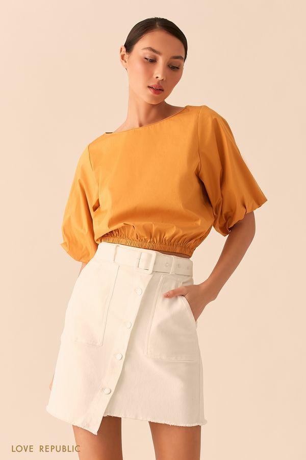 Укороченная оранжевая блузка с объемными рукавами 02550700303-9