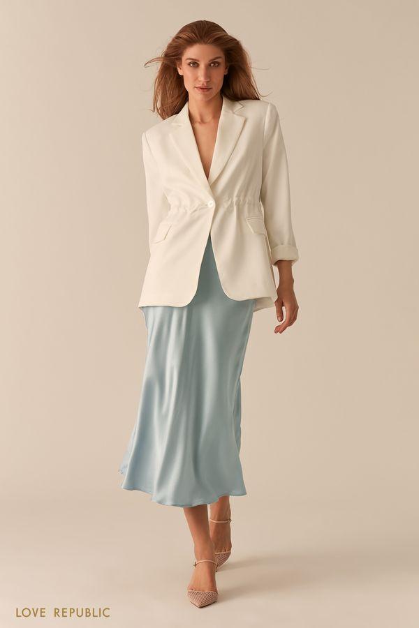 Атласная голубая юбка в бельевом стиле 02550710219-41