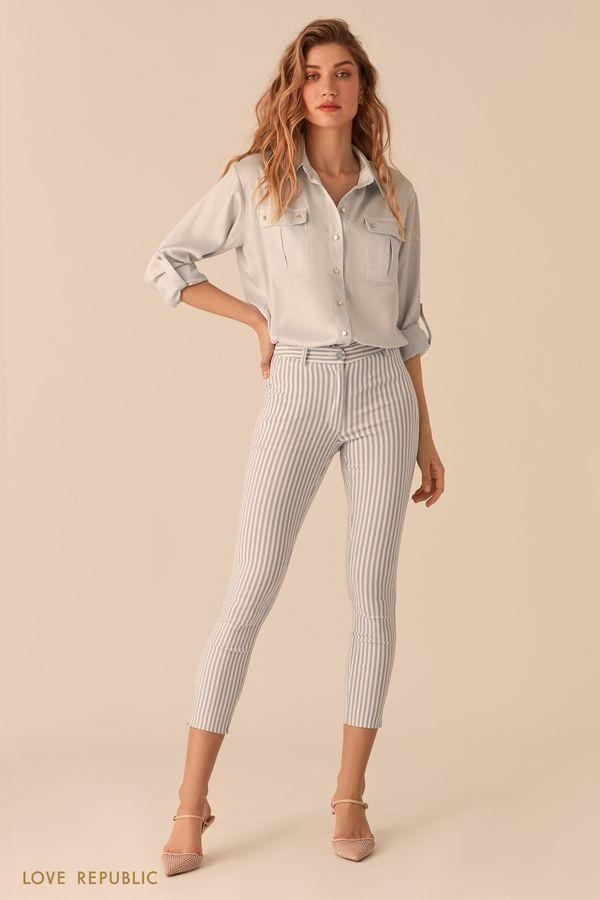 Атласная блузка в стиле милитари бежевого цвета 02550890356-62