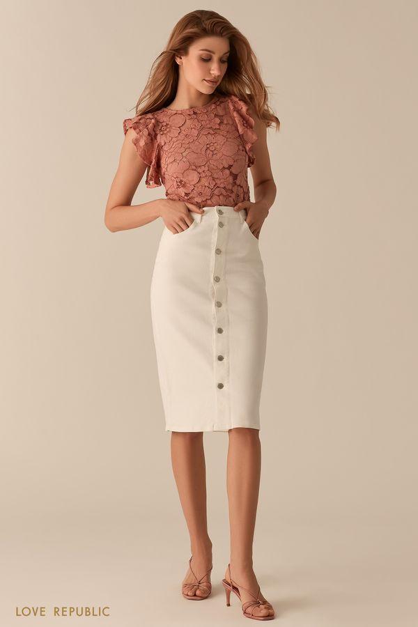 Кружевная полупрозрачная блузка с рукавами-воланами черного цвета 02550900343-50