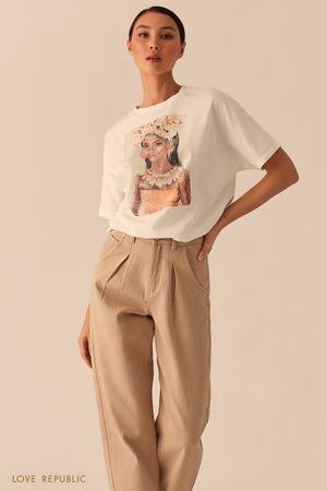 Белая oversize футболка с этническим арт-принтом фото