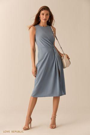 Голубое платье из модала с высоким разрезом Love Republic