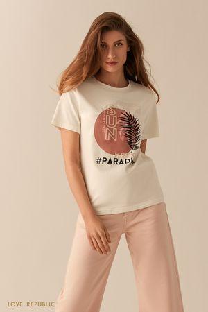 Хлопковая футболка с принтом фото