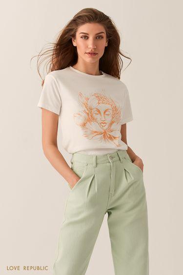 Белая футболка с художественным принтом 0255128367