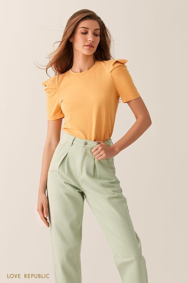 Желтая футболка с объемными рукавами 02551060324-9