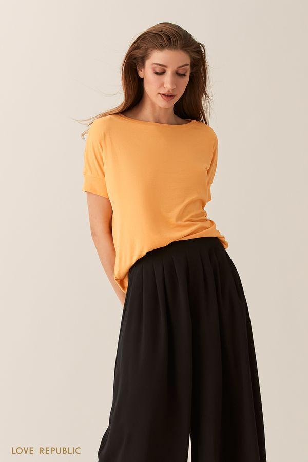 Свободная желтая футболка с рукавом реглан 02551270366-9