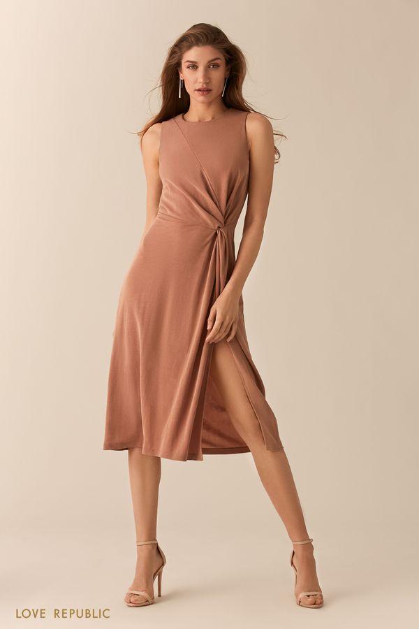 Платье из модала с высоким разрезом цвета капучино 02551340562-66