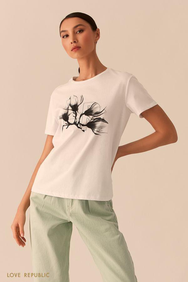 Белая футболка с художественным логотипом 0255135383-1